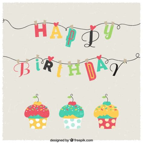 Birthday Card Cupcake Happy Birthday Card With Cupcakes Vector Free Download
