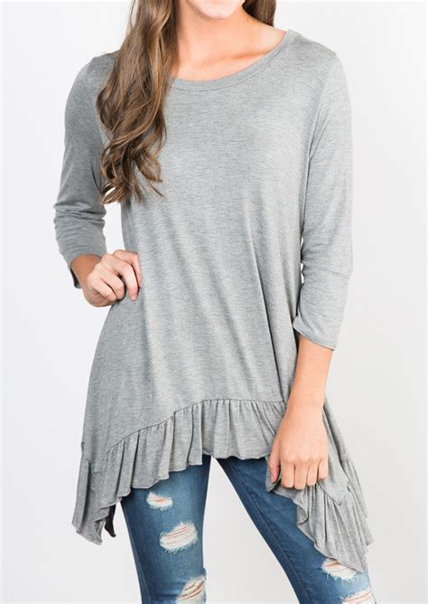 Blouse Asymmetric solid ruffled hem asymmetric blouse fairyseason