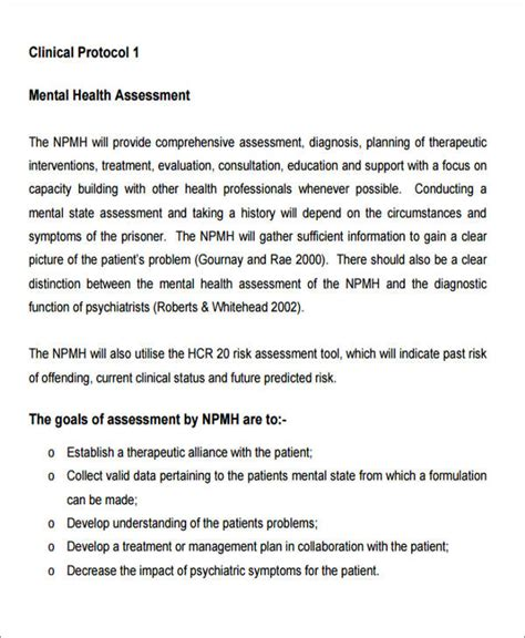 8 Sle Mental Health Assessments Sle Templates Comprehensive Mental Health Assessment Template