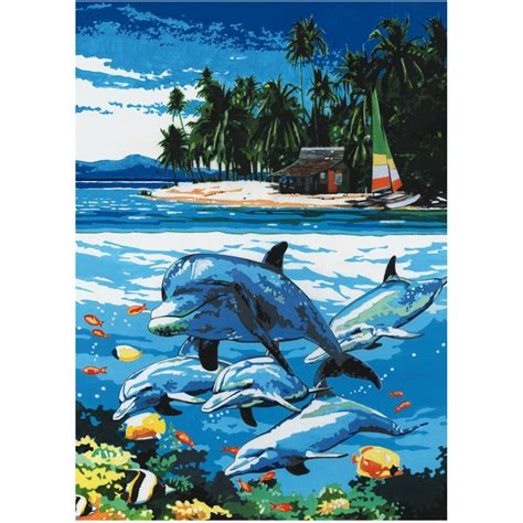 dolphin island painting by numbers royal langnickel from craftyarts co uk uk