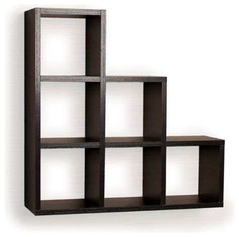 Display Wall Shelf by Stepped Six Cubby Decorative Black Wall Shelf