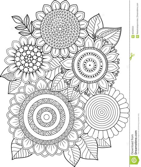 Abstract Sunflower Coloring Page | doodle flowers frame with cloud in pink lilac blue yellow