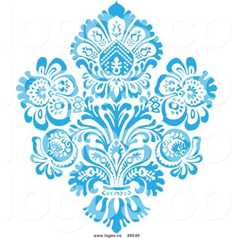 blue patterned u logo royalty free clip art vector blue victorian floral damask