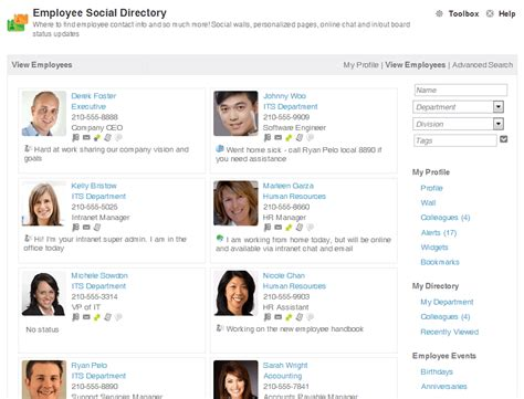 The Social Employee Directory On Your Corporate Intranet Employee Photo Directory Template