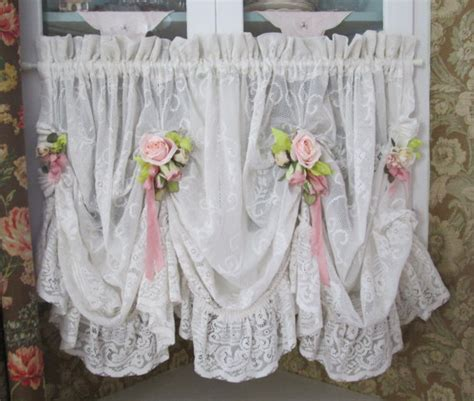 lace swag valance curtains shabby chic ruffled lace valance swag curtain swag