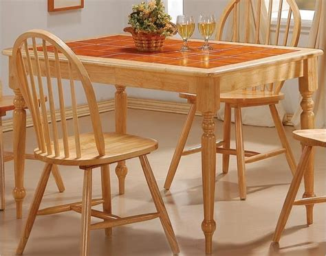 natural wood dining room sets coaster damen rectangle tile top dining table in warm