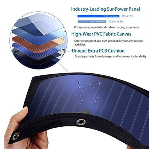 Foldable Solar With 2 Solar Panel Black sokoo 22w 5v 2 port usb portable foldable solar charger with import it all