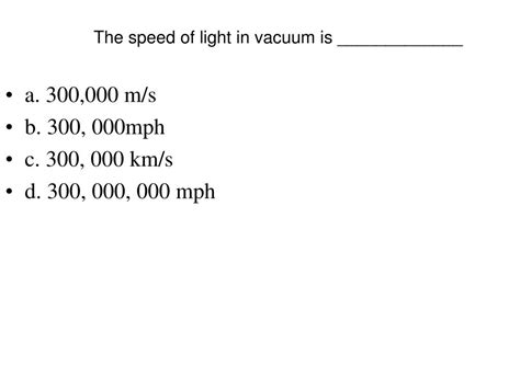 The Speed Of Light In A Vacuum Is by The Speed Of Light In A Vacuum Is The Wave Nature Of