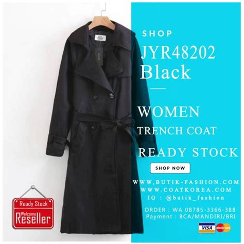 Trench Jacket Black Korean Style coat wanita jaket trench coat wanita import coat