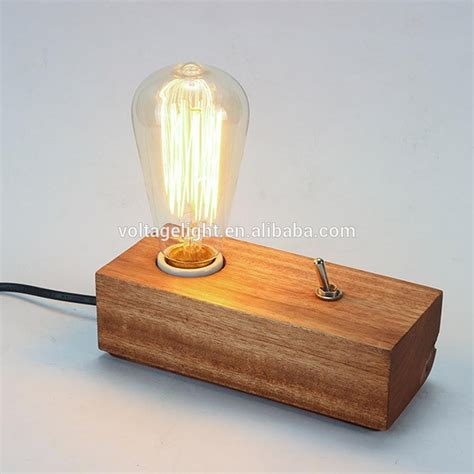 wooden light modern fancy natural wood base table l edison bulb
