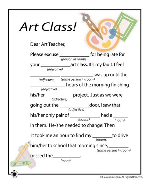 printable art activities for elementary mad lib worksheets art class woo jr kids activities