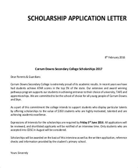 Scholarship Application Letter Sle For College Application Letter Formats