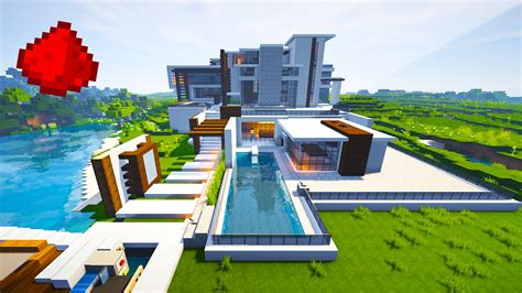 minecraft redstone house maps modern mansion w some redstone minecraft maps youtube