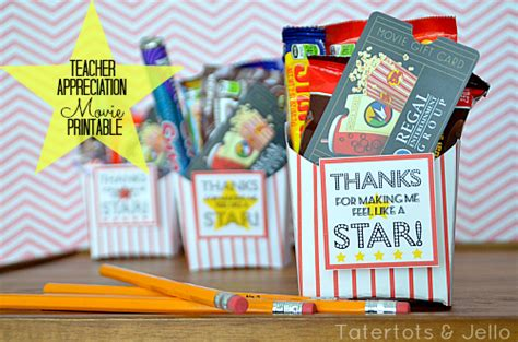 Printable Movie Gift Cards - teacher appreciation gift movie gift card idea
