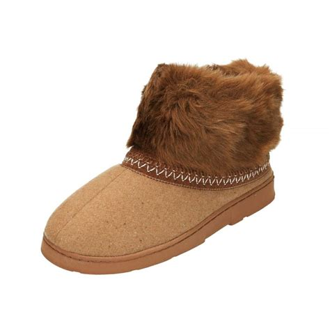 fur slipper boots dr keller brown warm faux fur lined slipper ankle boots