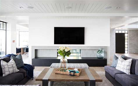 modern beach house great room fireplace patterson custom
