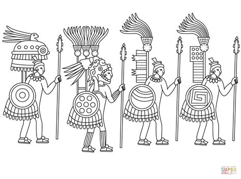 aztec coloring pages aztec warriors coloring page free printable coloring pages
