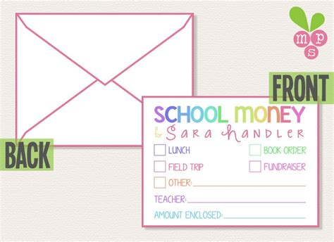 money template for school unlimited printable school money envelope template diy