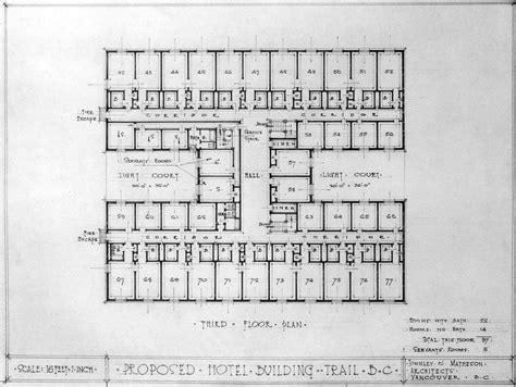 floor plans of hotels proposed hotel building trail b c third floor plan city of vancouver archives