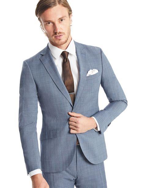 light blue mens slim fit s light blue prince of wales check slim fit suit