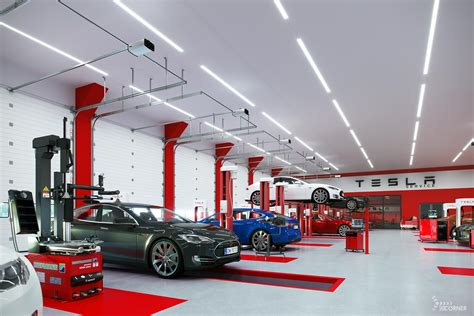 car workshop led lighting visualization  corner