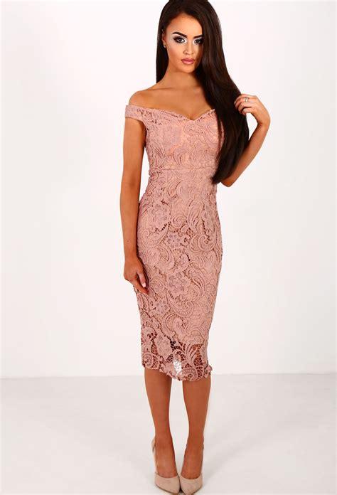 Crochet Pink Dress cover pink crochet bardot midi dress pink boutique