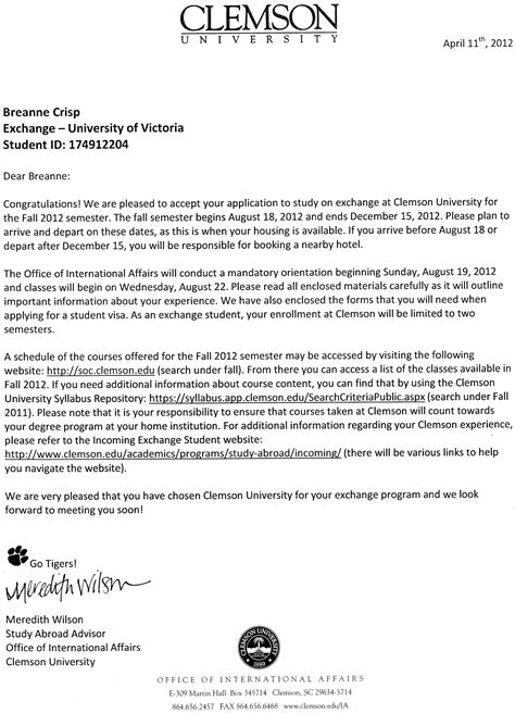 Acceptance Letter For Transfer R 233 Sum 233 Breanne Crisp