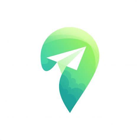 location green logo vector premium