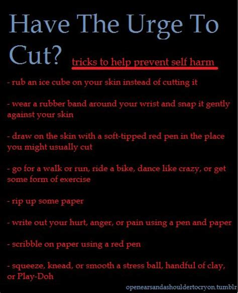 best tools to cut yourself with tricks to help prevent self harm