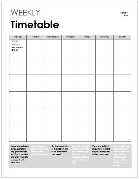 Student Class Timetable Sheets for MS Excel   Word & Excel
