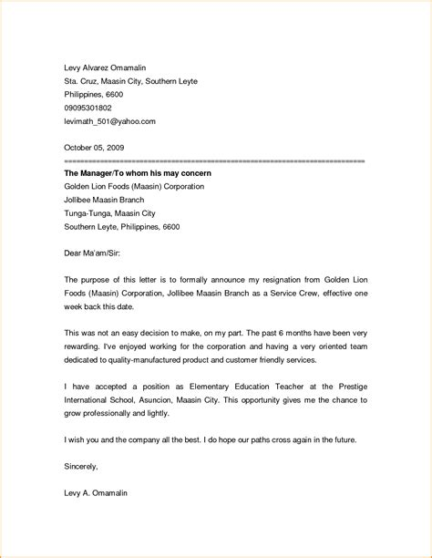 Resignation Announcement Letter by 7 Friendly Resignation Letter Template Invoice Template