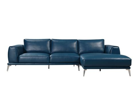 Blue Sectional Sofas by Divani Casa Drancy Modern Blue Bonded Leather Sectional Sofa