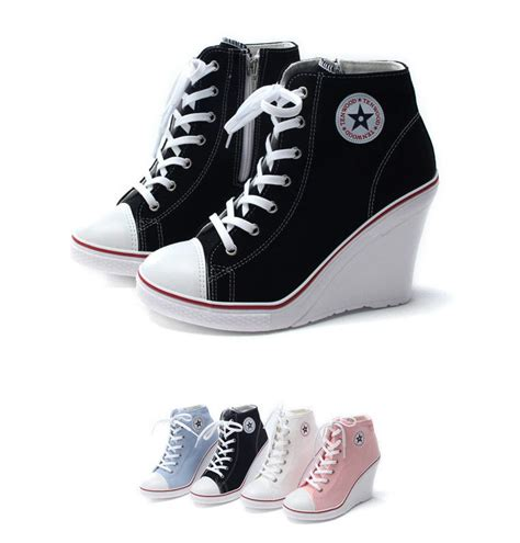 womens high heel 10cm canvas wedge sneakers casual hi top