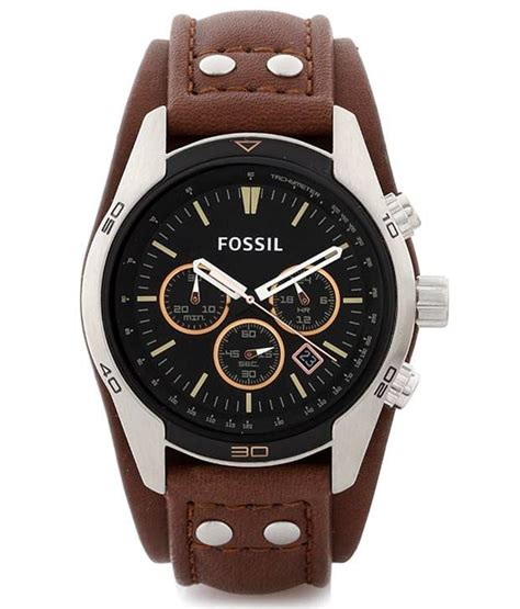 Fossil Ch2951 Leather Brown Silver White Chrono new fossil mens coachman silver tone ss brown