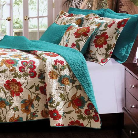 Tropical Quilts by 3pc Tropical Floral Teal Blue Green Cotton Quilt Set