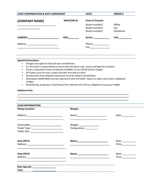 rate agreement template load confirmation rate agreement template in word and