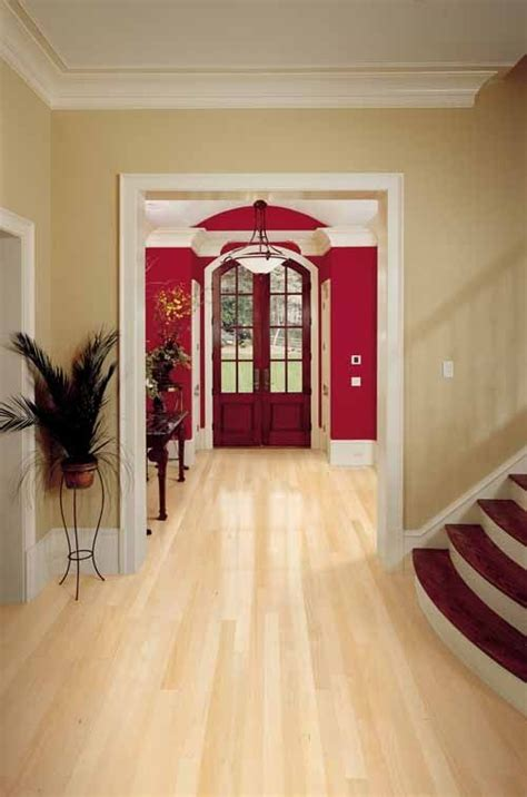 paint colors to go with honey maple wood paired with bright paint makes a room airy and