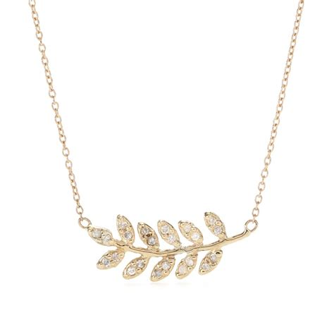 N07 Gold Pendant Necklace Leaf jacquie aiche 14kt yellow gold large leaf pendant necklace with white diamonds in white lyst