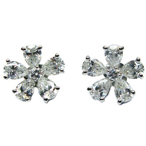 flower design ear studs flower design diamond earrings at 1stdibs