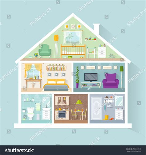 house with rooms vector house model rooms different purposes stock vector