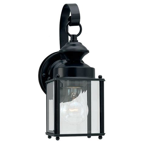 Seagull Light Fixtures Sea Gull Lighting Jamestowne 1 Light Black Outdoor Wall Fixture 8456 12 The Home Depot
