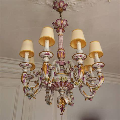 porzellan kronleuchter capodimonte italian porcelain eight light chandelier for