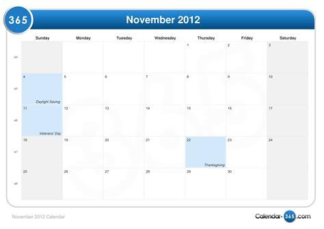 Calendar November 2012 November 2012 Calendar