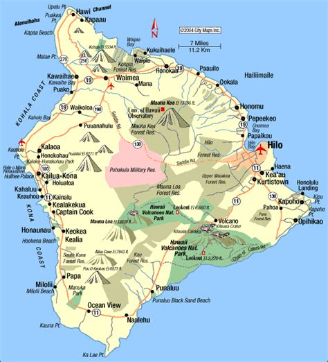 map of hawaii islands for driving road in a rental vehicle