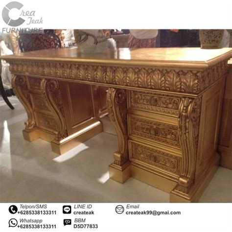Meja Kayu Kantor meja kantor eksekutif ukir mewah createak furniture createak furniture