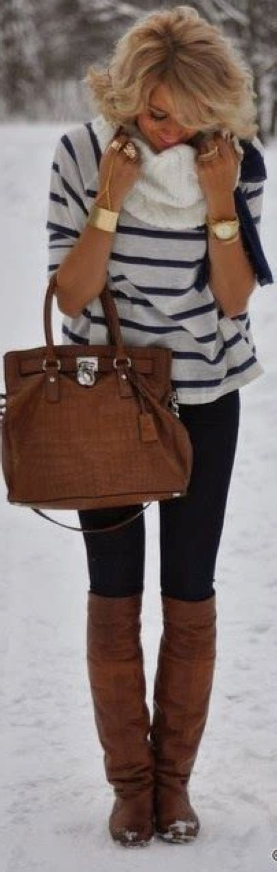 Whitebrownblack Stripe Casual Top 24544 guest post striped shirt black white fringe scarf brown boots