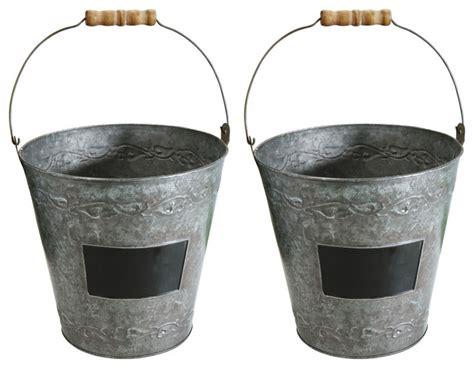 Window Treatments Dining Room decorative metal garden buckets with wood handles set of