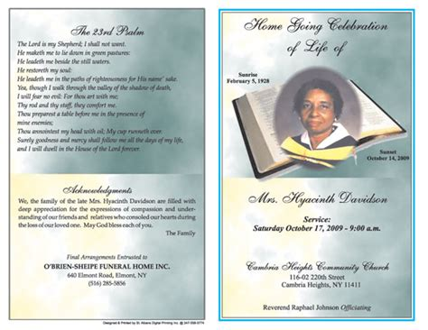 free funeral program template for word 6 free funeral program templates microsoft word website