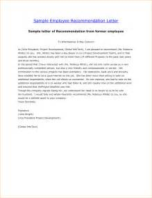 Template Of Reference Letter For An Employee 4 Letter Of Recommendation For Employee Outline Templates