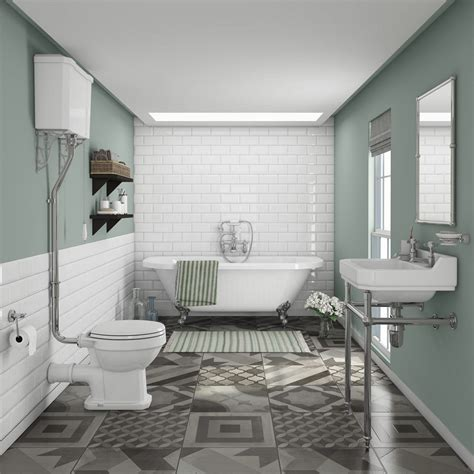 traditional victorian bathrooms newbury traditional back to wall roll top bath suite at